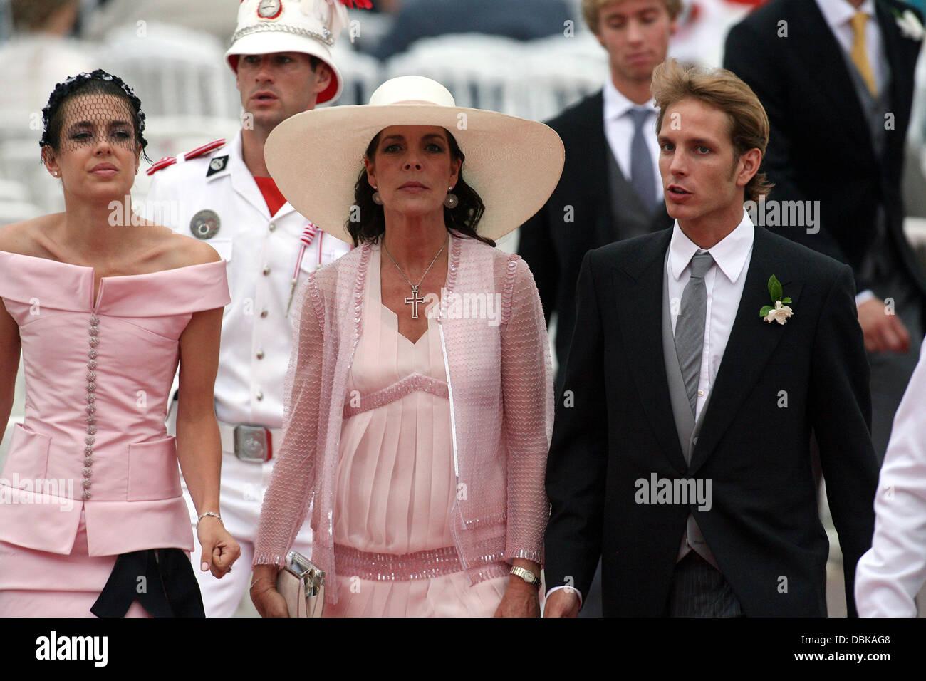 Charlotte Casiraghi, La Princesse Caroline de Hanovre et Andrea Casiraghi  cérémonie religieuse du mariage du Prince Albert II de Monaco à Charlene  Wittstock