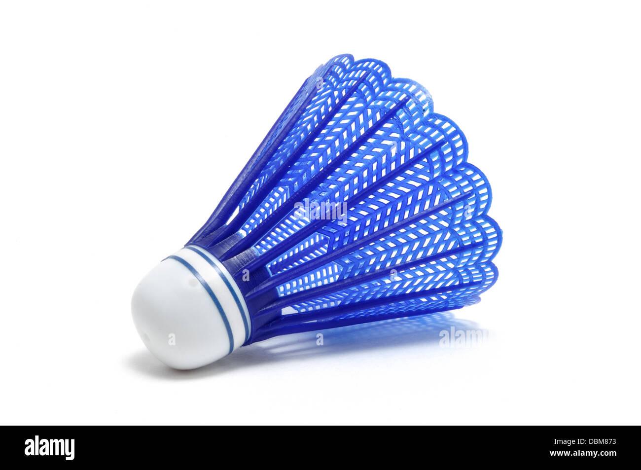 Badminton volant bleu (Birdie) isolated on white Photo Stock
