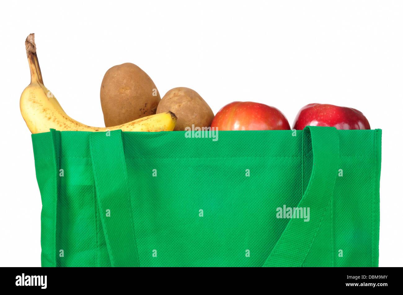 Sac shopping avec des fruits et légumes Photo Stock