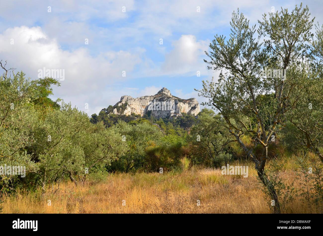 Le Mont Gaussier, Glanum près de St Rémy-de-Provence. Photo Stock