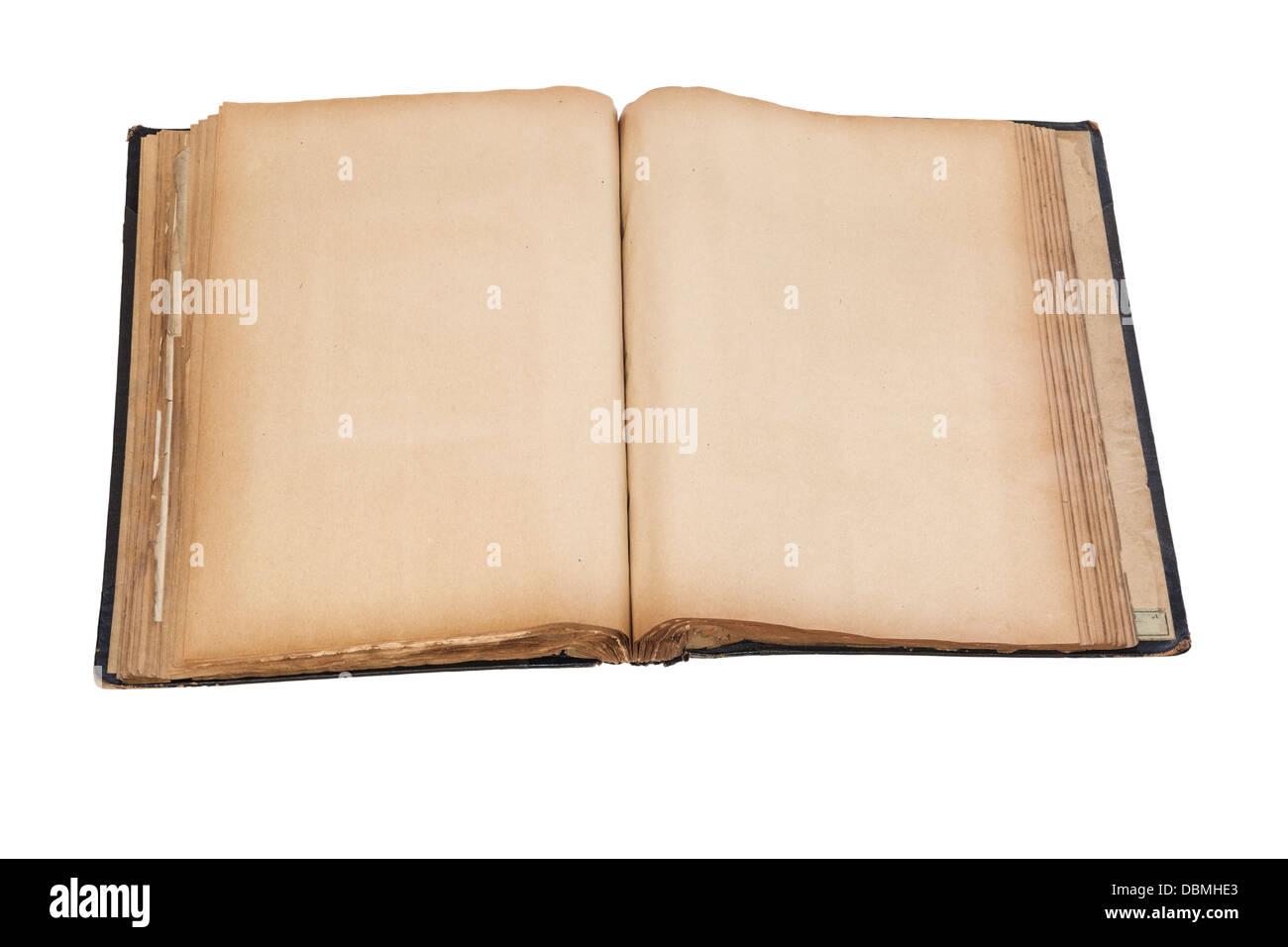 Vieux Scrap Book - vieux scrap book ou album, plus de 100 ans, ouvert à des pages blanches. Chemin de détourage. Photo Stock