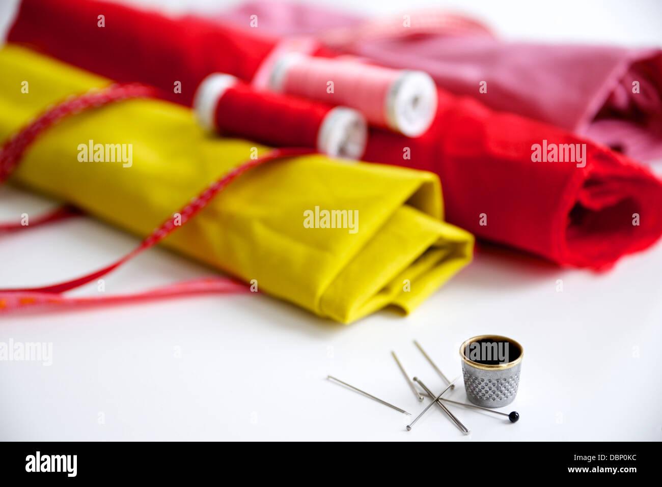 Matériel de couture et de tissus, Munich, Bavière, Allemagne Photo Stock