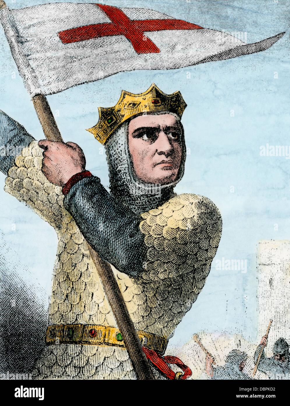 Godefroy de Bouillon à la première croisade, 1096 A.D. à la main, gravure sur bois Photo Stock