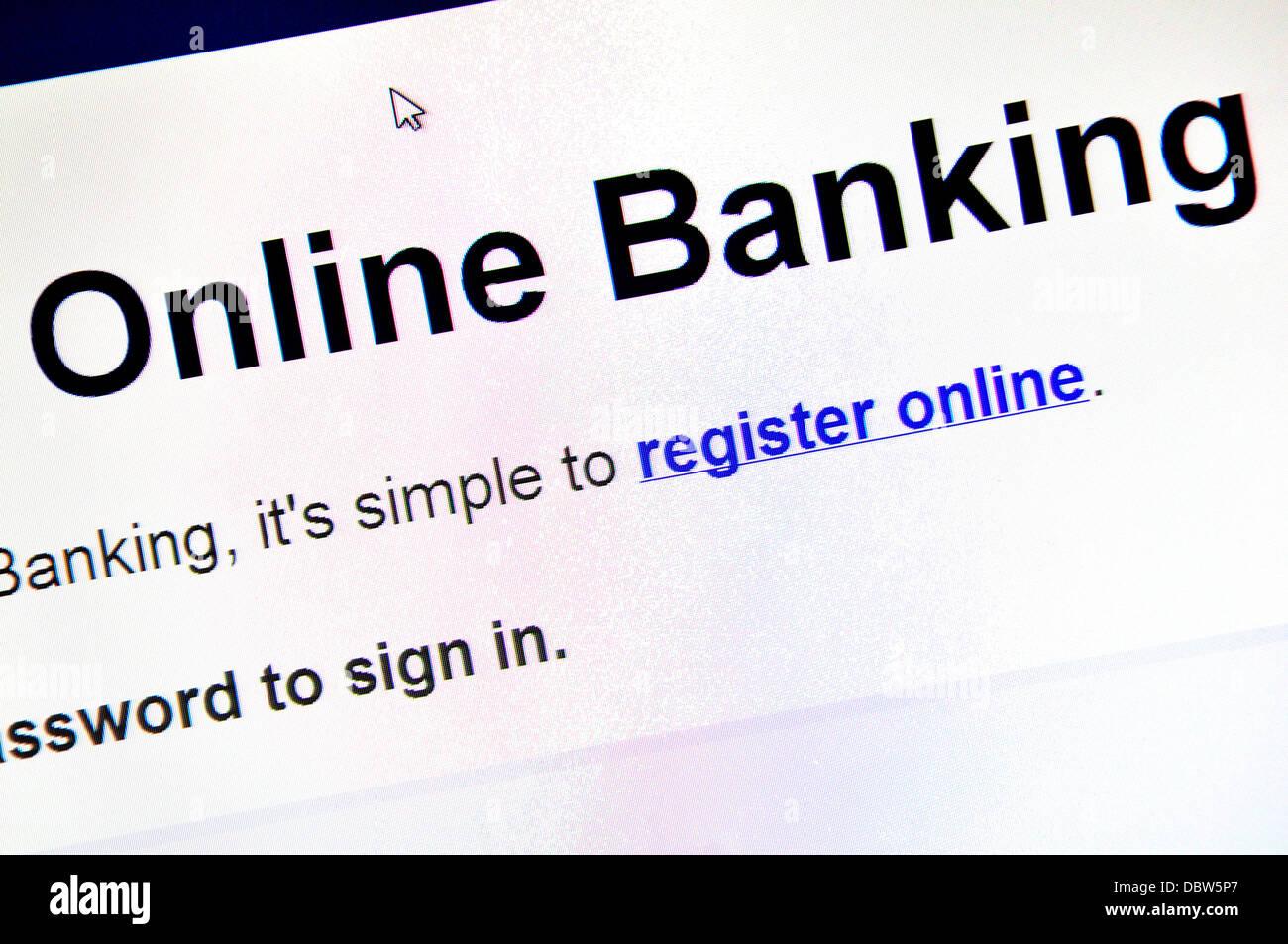 Ordinateur d'écran - Internet. Services bancaires en ligne Banque D'Images