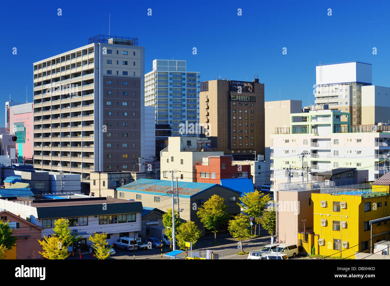 Édifices du centre-ville d'Aomori City, Japon. Photo Stock