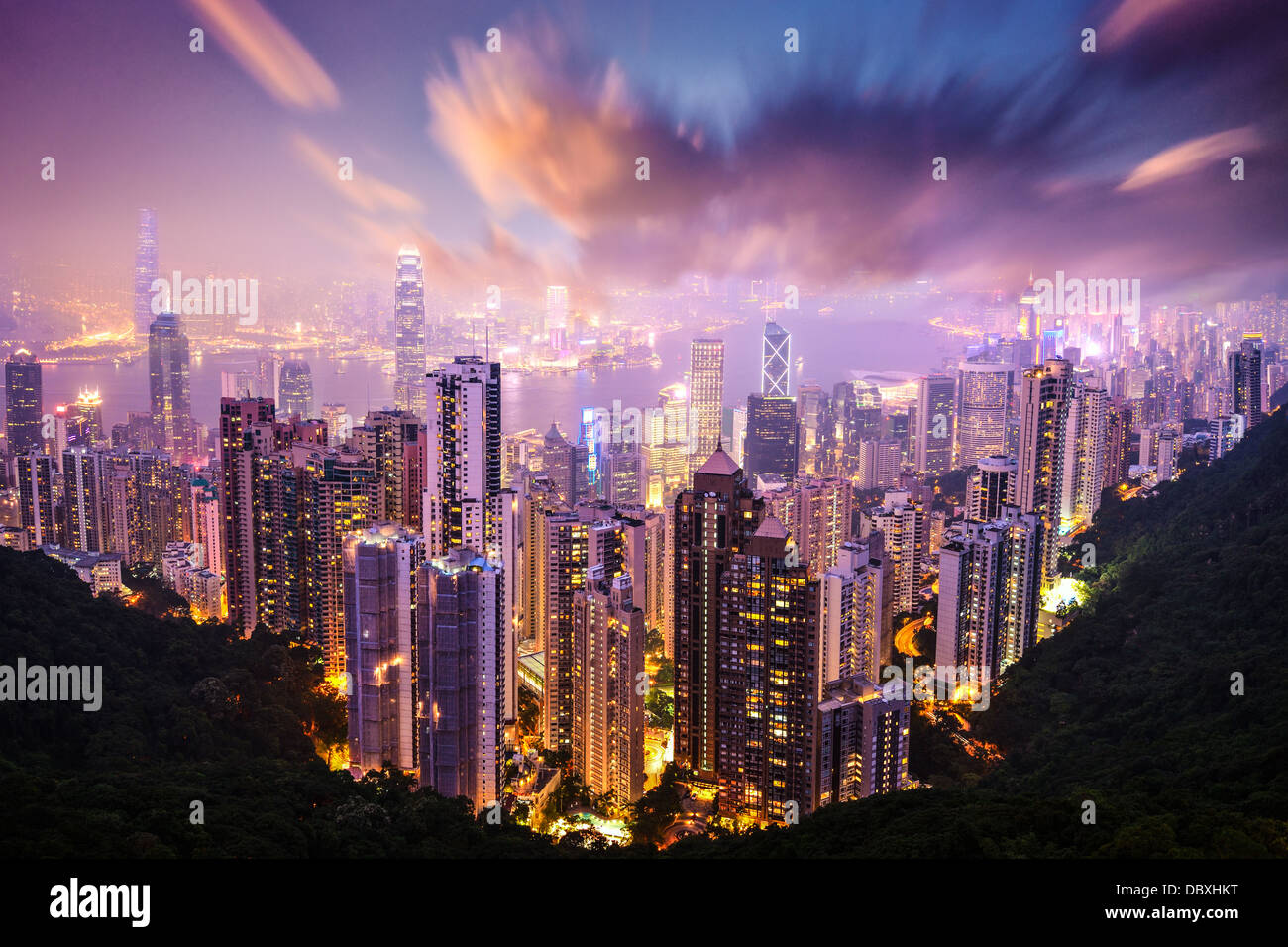 Hong Kong, Chine skyline de Victoria Peak. Photo Stock