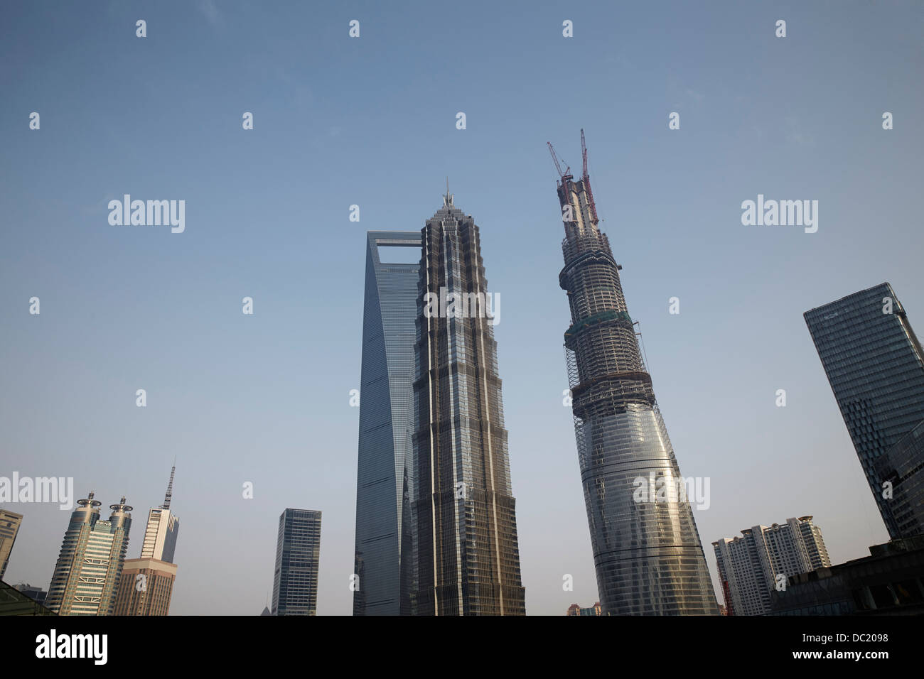 La Tour de Shanghai, tour Jin Mao et Centre mondial des finances de Shanghai, Shanghai, Chine Photo Stock