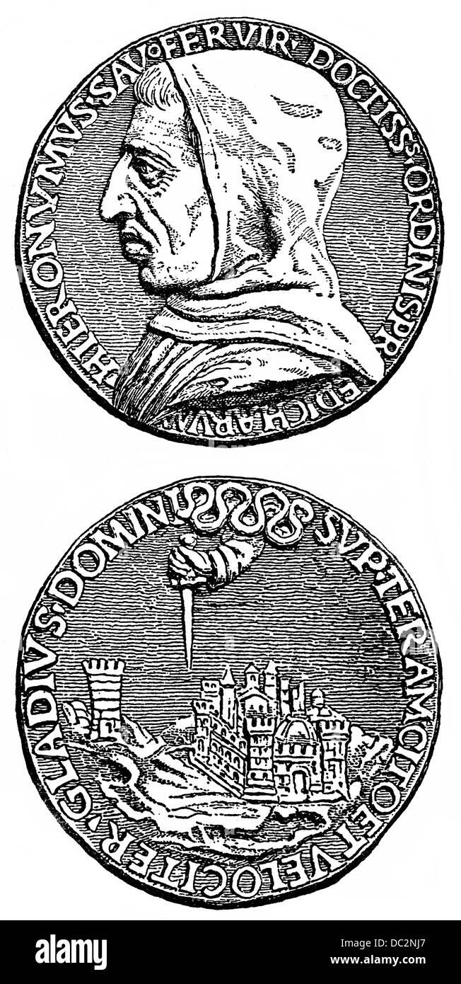 Pièce de monnaie commémorative de Girolamo Jérôme Savonarole, 1452 - 1498, un Dominicain Italien Photo Stock