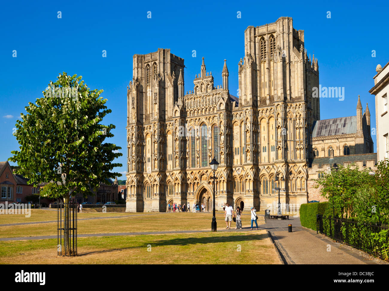 Wells Cathedral et Wells Somerset England UK GB EU Europe Banque D'Images