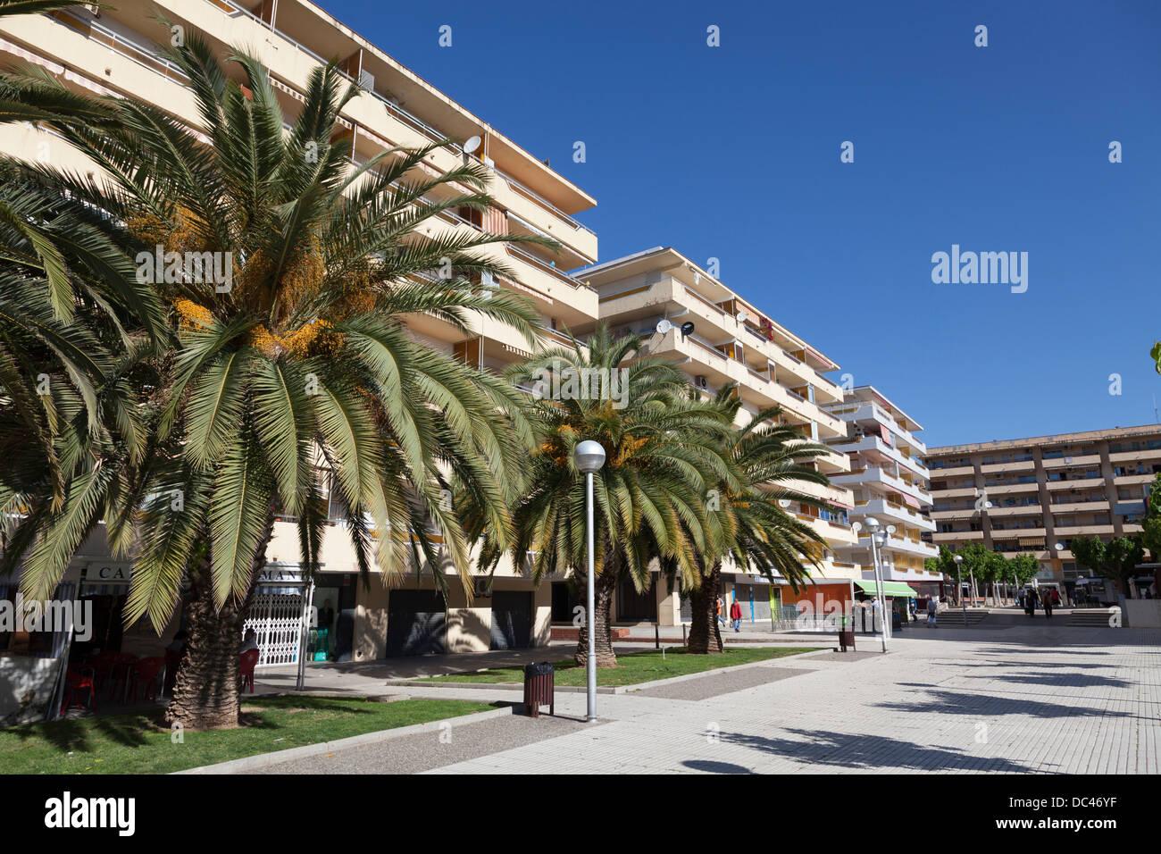 Les immeubles à appartements et de palmiers à Salou Photo Stock