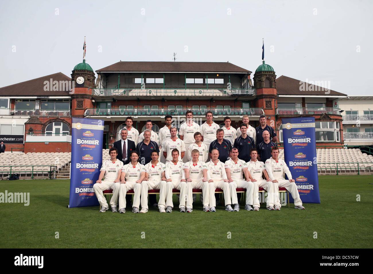 Le Lancashire County Cricket Club photocall le 6 avril 2009. L'escouade posent pour une photo de l'équipe. Photo Stock
