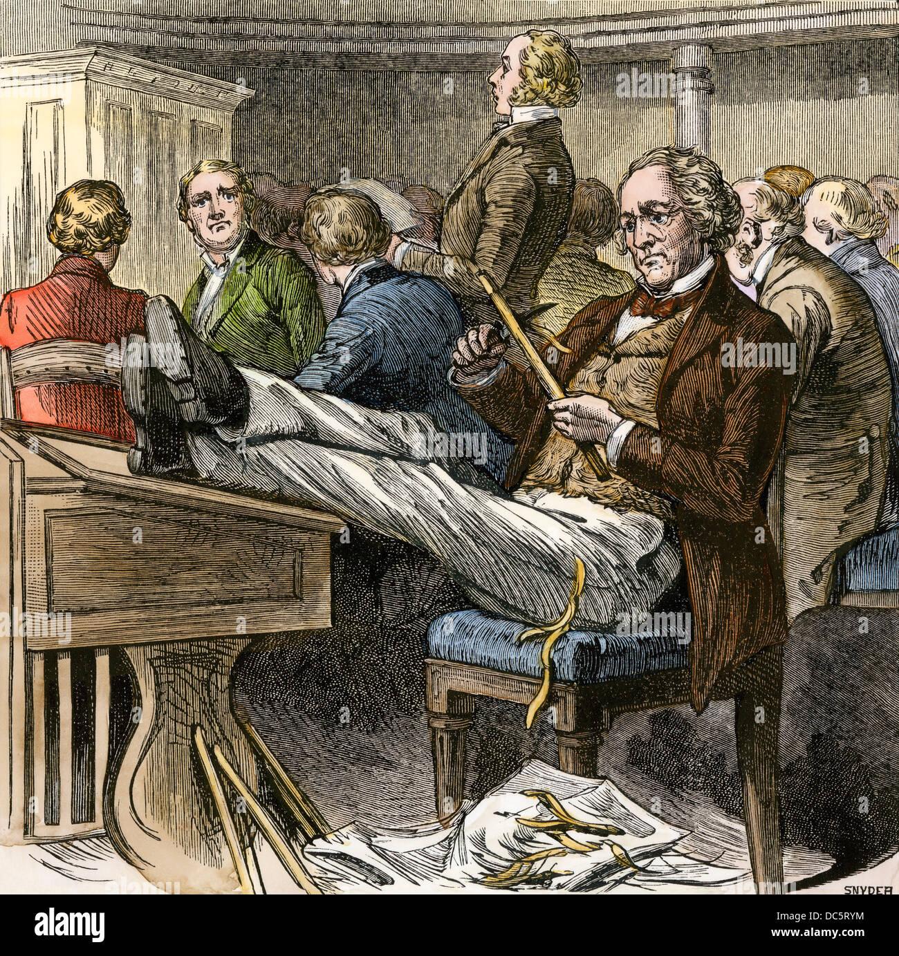 Sam Houston à tailler au Sénat des États-Unis. À la main, gravure sur bois Photo Stock