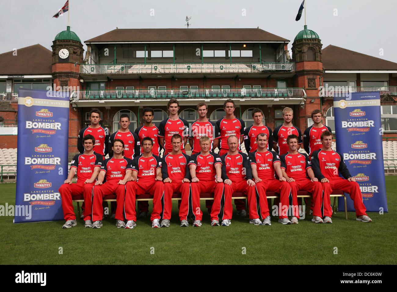 Le Lancashire County Cricket Club photocall le 6 avril 2009. L'équipe pose dans les vingt vingt strip. Photo Stock
