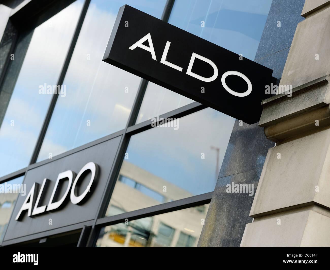 Aldo Boutique Sign, Oxford Street, Londres, Royaume-Uni. Succursale de Londres de la chaussure mondiale appartenant Photo Stock