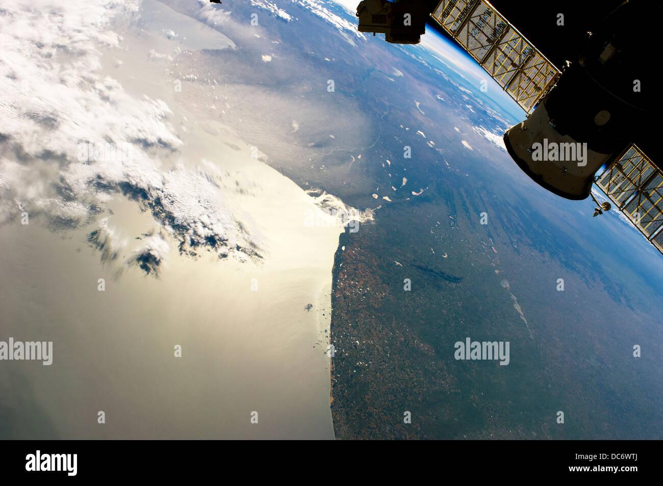 Station spatiale internationale et l'affichage de la Bahia Blanca, Argentine Photo Stock