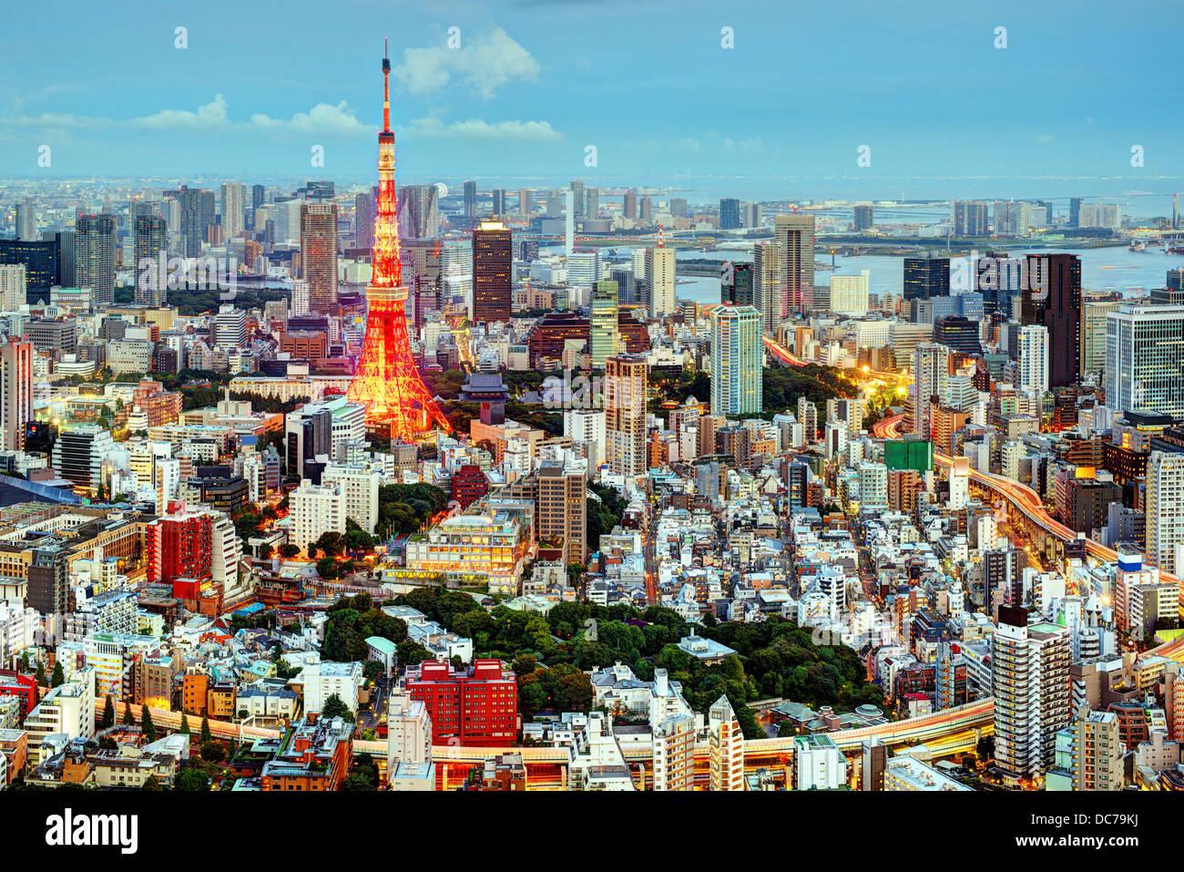 Tokyo, Japon cityscape à tour de Tokyo. Photo Stock