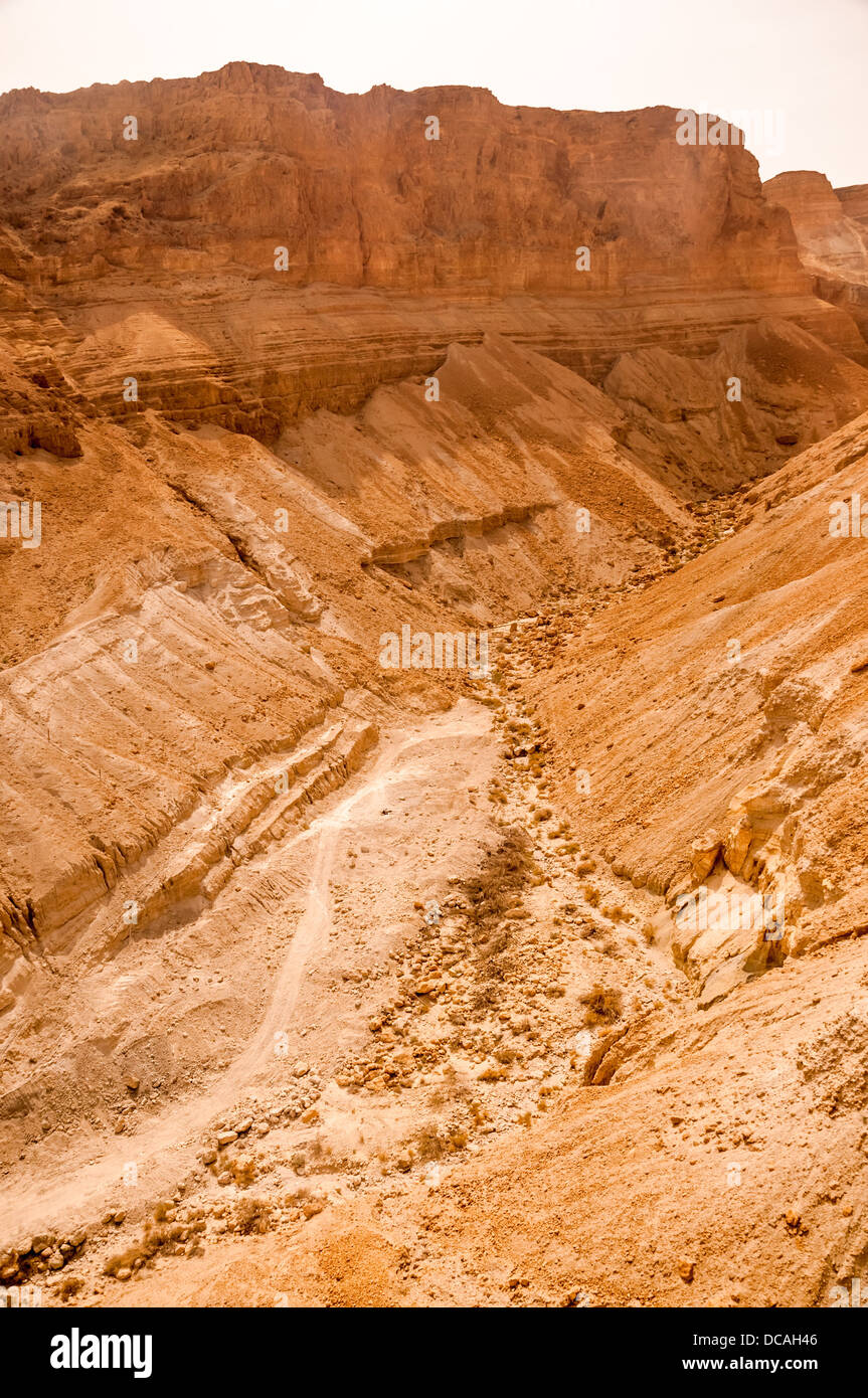 Rock Formation au désert de Judée près de Massada en Israël. Photo Stock