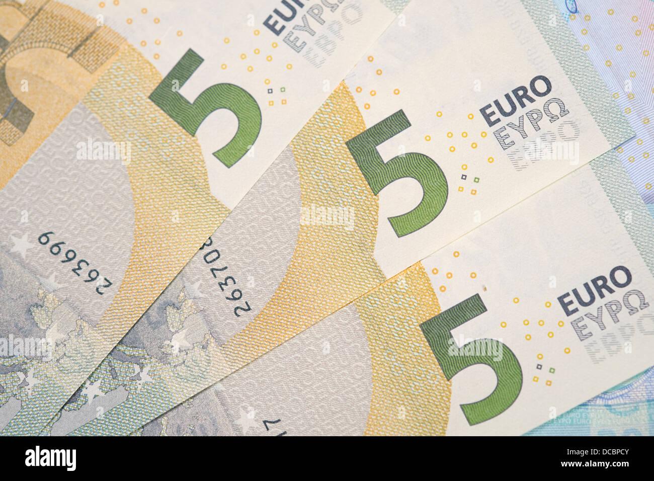Billets de banque européenne, euro devise de l'Europe, d'Euros. Banque D'Images