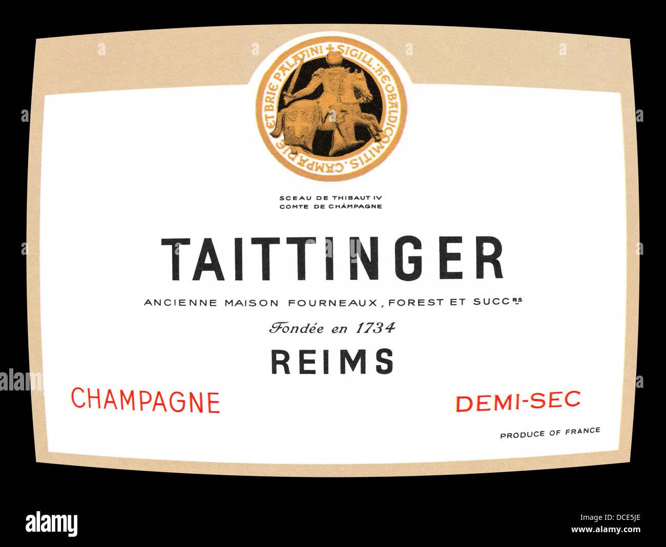 1960 L'étiquette du flacon pour Tattinger Champagne demi-sec Photo Stock