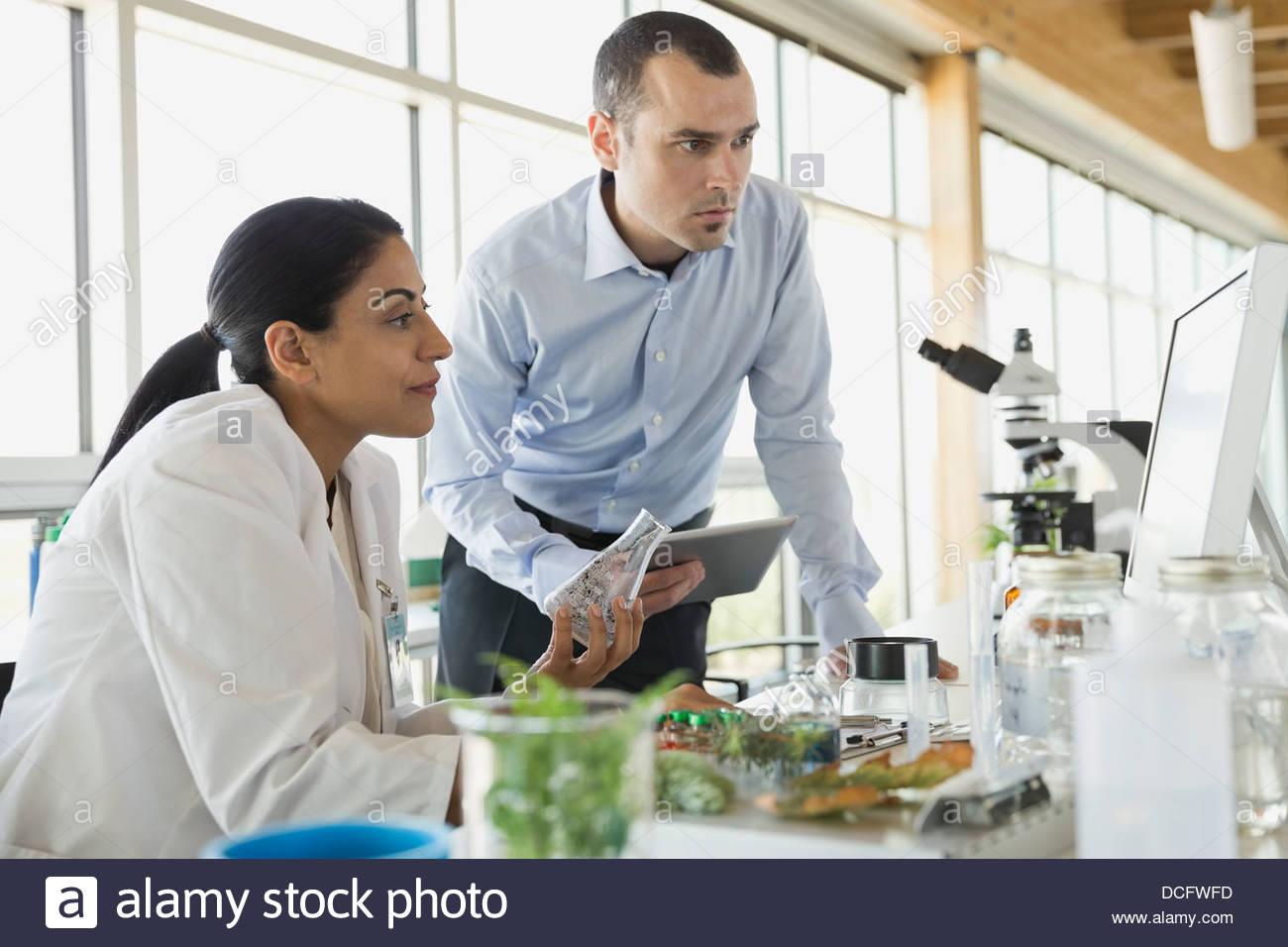 Botaniste et homme d'examiner les données de l'échantillon Photo Stock