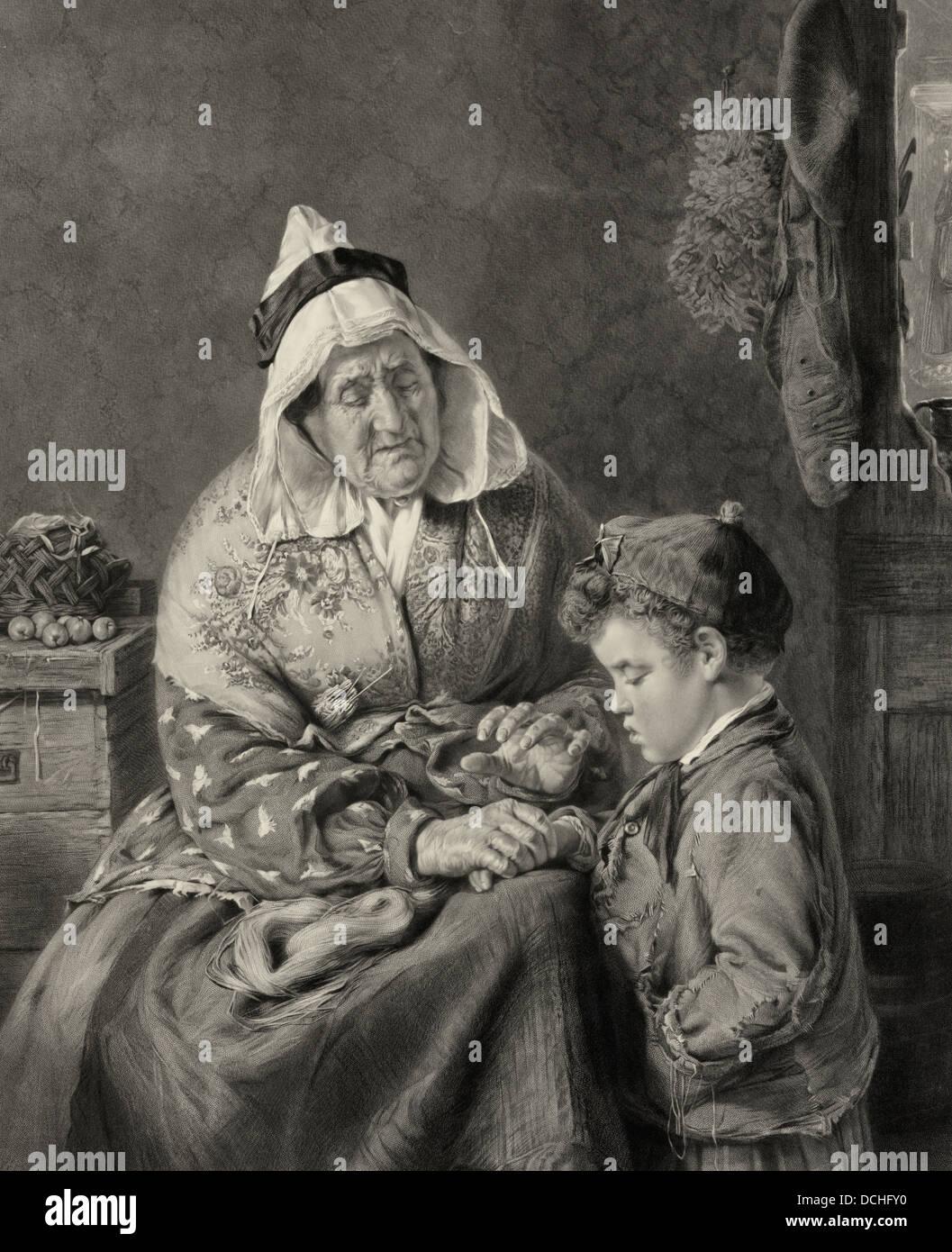 Toujours dire la vérité - une femme réprimandant un jeune garçon à toujours dire la vérité Photo Stock