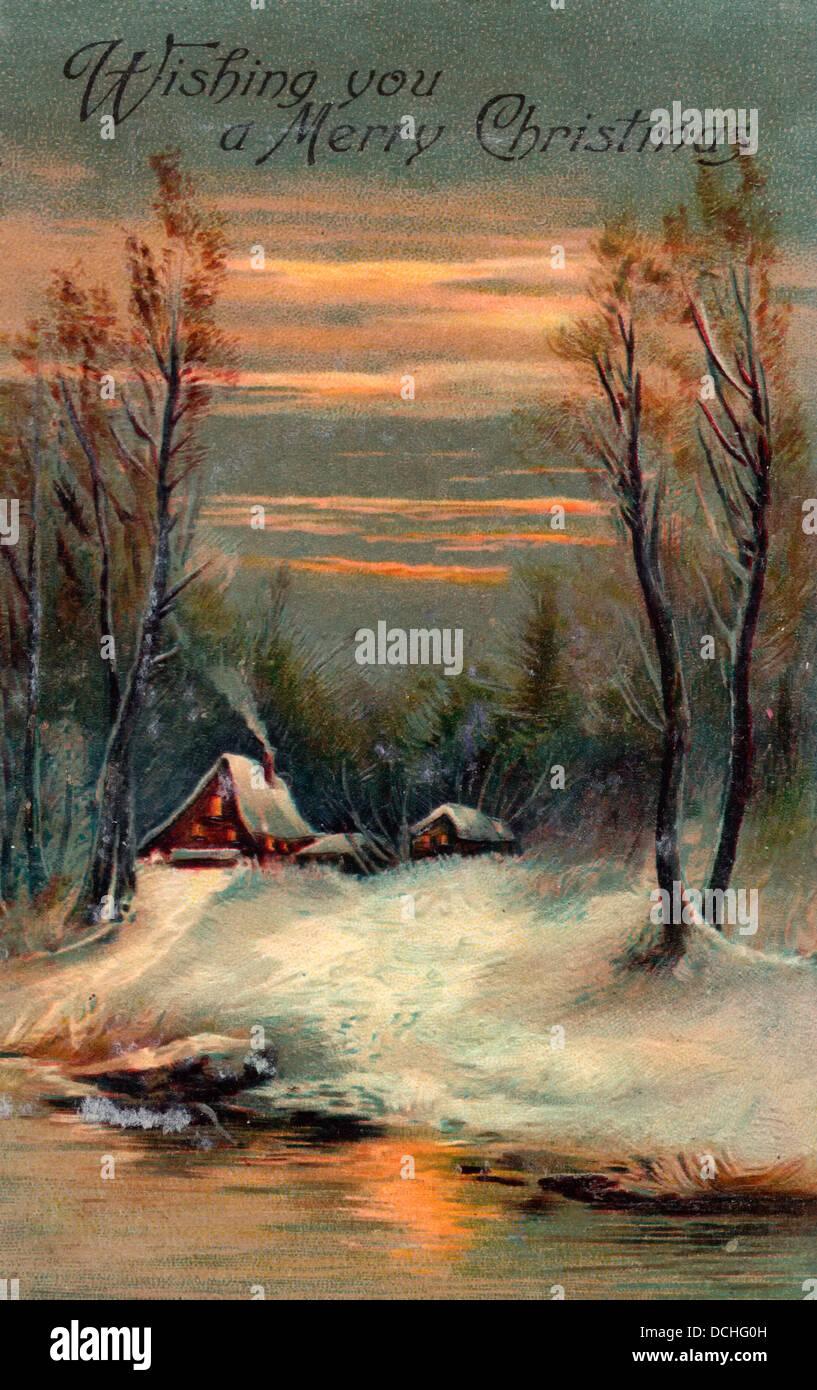 Je vous souhaite un Joyeux Noël - Carte Vintage avec des maisons le long du lac Photo Stock