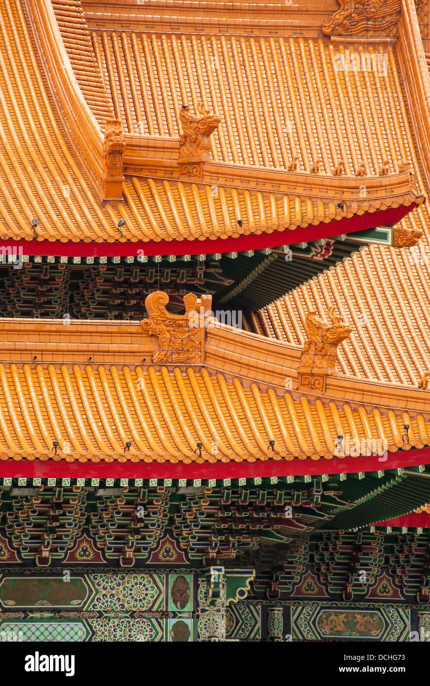 Un détail de la toiture ornée du National Concert Hall de Taipei, Taiwan. Photo Stock