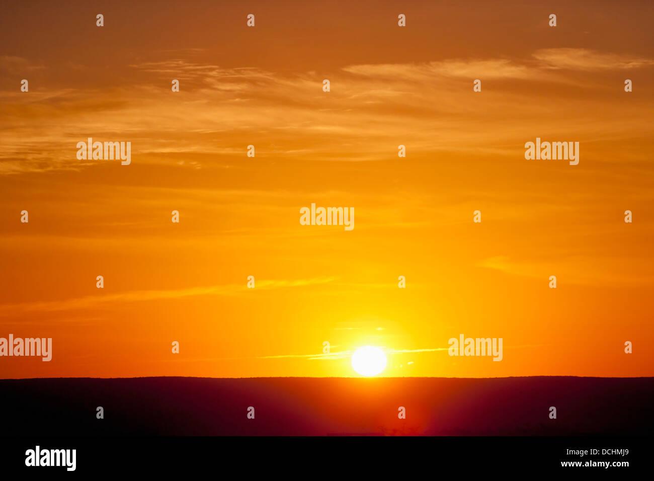 Lever de soleil sur l'Horizon Niveau; Floride, États-Unis d'Amérique Banque D'Images