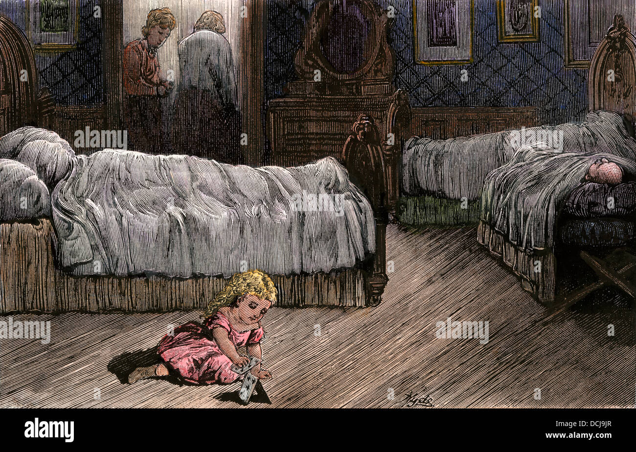 Enfant devenu orphelin après que les membres de la famille sont morts de la fièvre jaune, Louisiane, 1870. Photo Stock