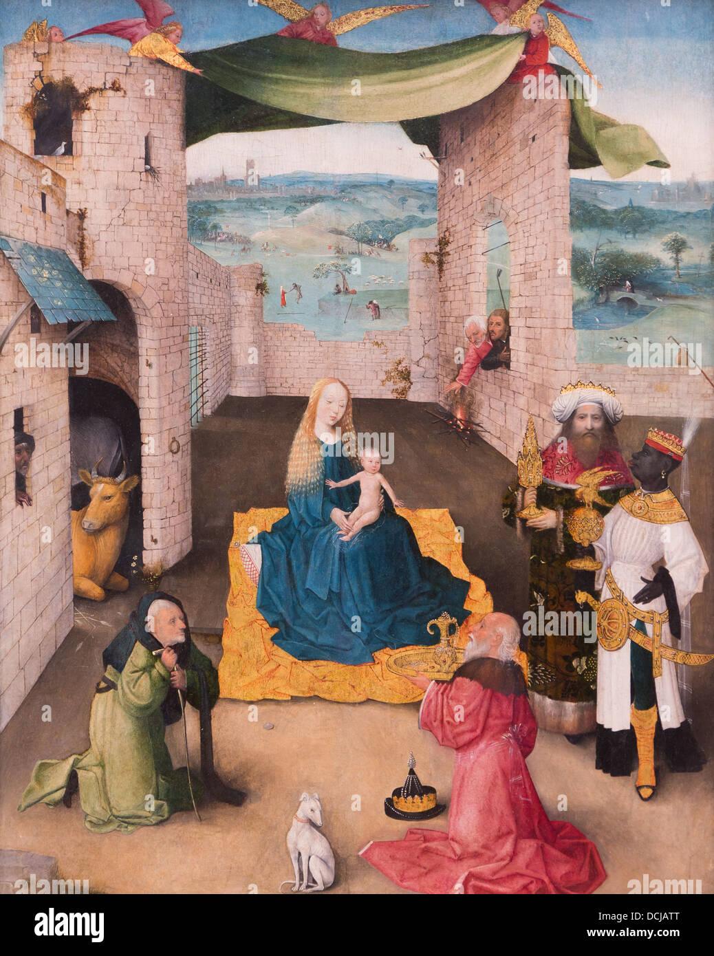 15e siècle - l'Adoration des Mages, 1470 Jérôme Bosch - Philippe Sauvan-Magnet / Active Museum Photo Stock