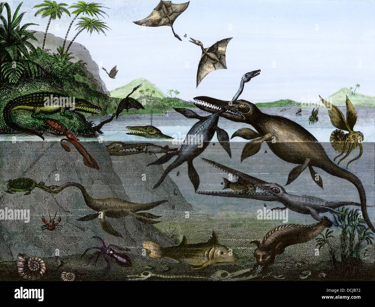 Les dinosaures de la mer, de la terre, et de l'air au cours de l'âge des reptiles, un 19e siècle l'inscription. La gravure à la main, Banque D'Images