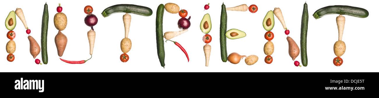 """Le mot """"nutriment"""" fabriqué à partir de légumes Photo Stock"""