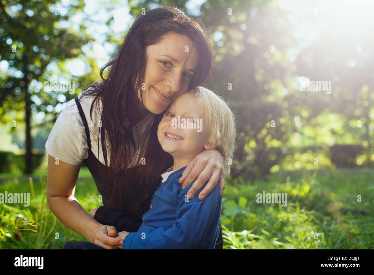 Portrait de famille avec place pour le texte Photo Stock