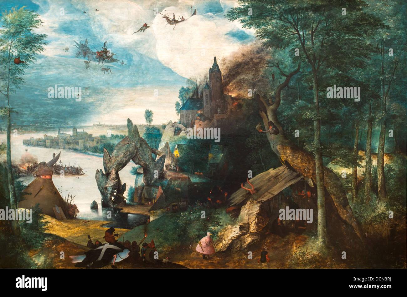 16e siècle - La Tentation de Saint Antoine, 1550 - De Pieter Brueghel l'Helder Philippe Sauvan-Magnet / Photo Stock