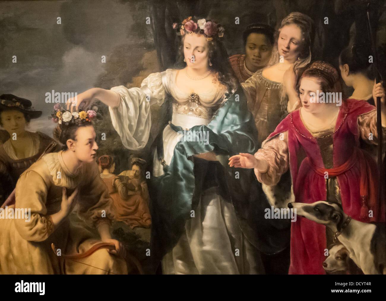 17e siècle - Couronnement de Mirtillo - Ferdinand Bol (1650) - Musée DeYoung - San Francisco Huile sur Photo Stock