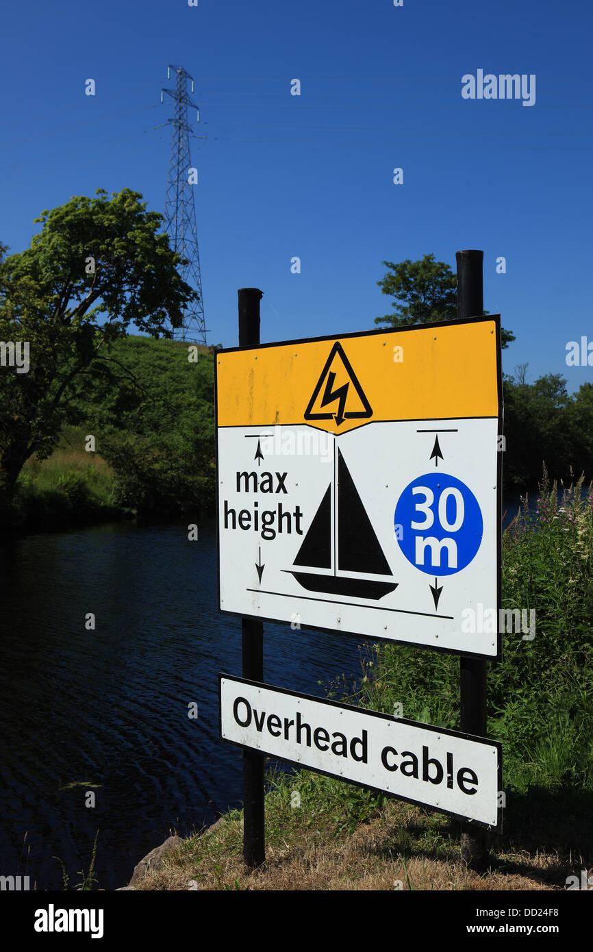 Panneau d'avertissement pour informer les propriétaires de câbles aériens sur le Canal Crinan Photo Stock