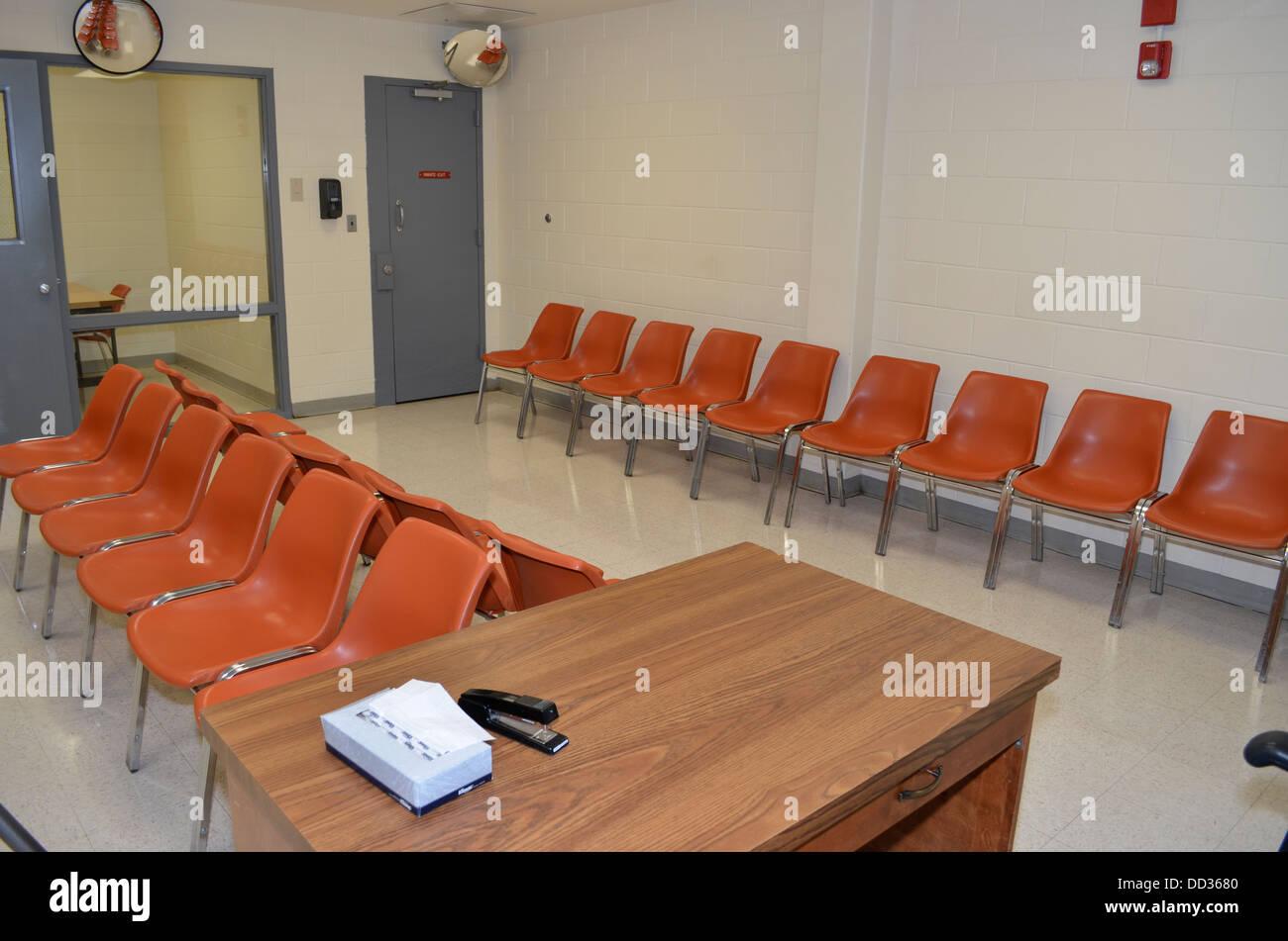 Salle des visites. Centre de diagnostic et d'évaluation, de Lincoln dans le Nebraska. Photo Stock