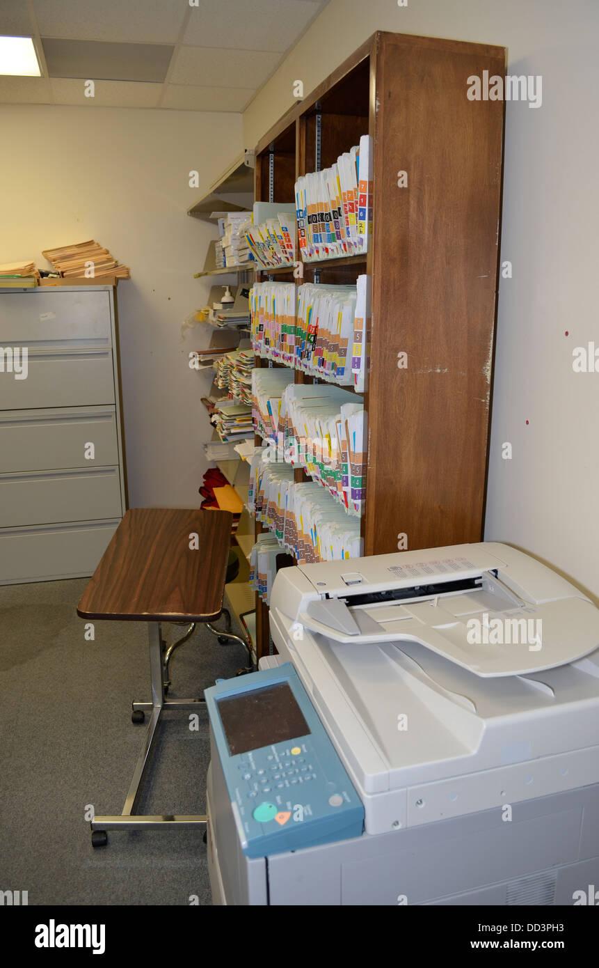 Des fichiers médicaux détenu. Centre de diagnostic et d'évaluation, Lincoln, Nebraska. Photo Stock