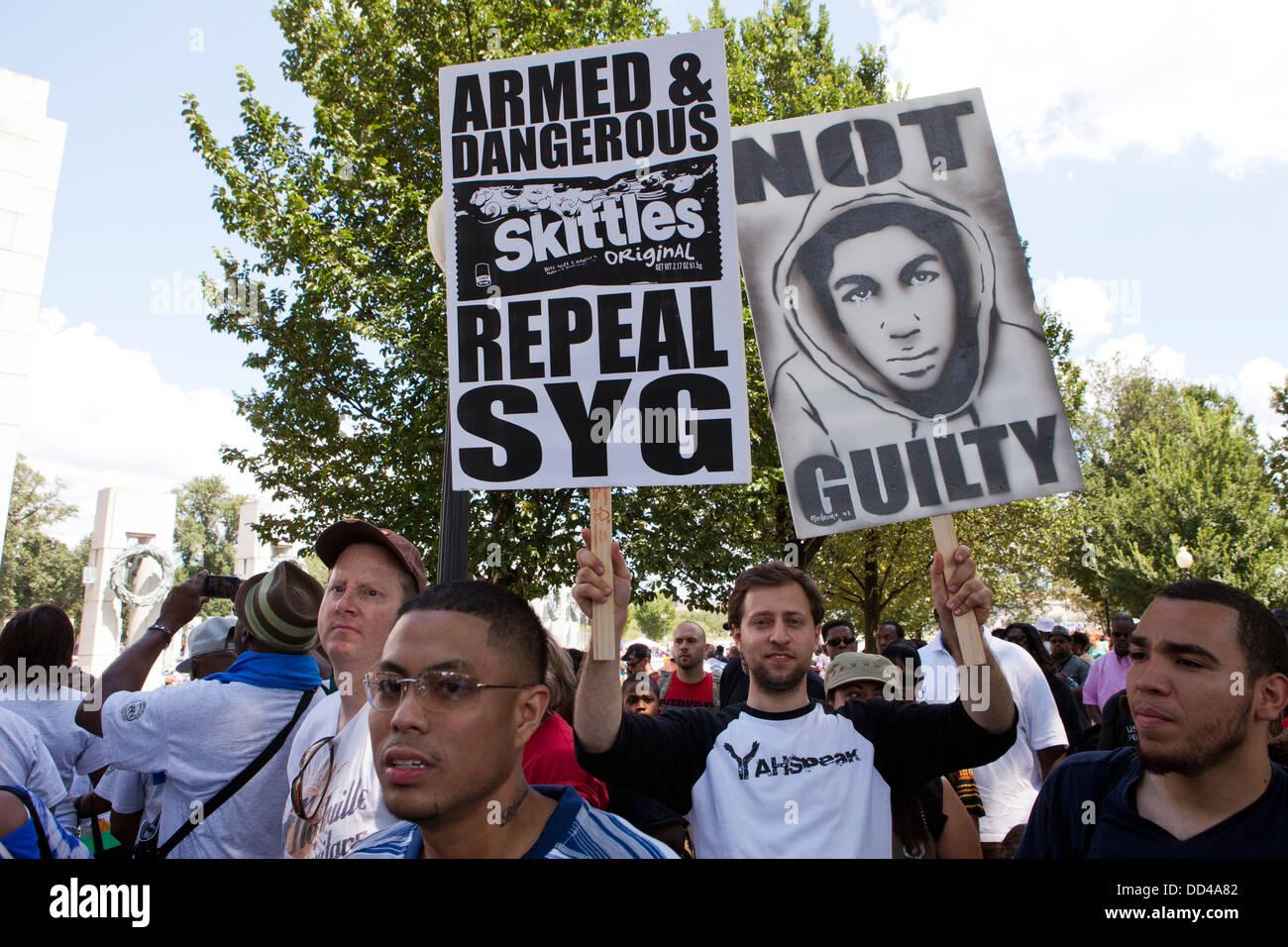 Travon Martin partisan à un rallye de l'égalité des droits Photo Stock
