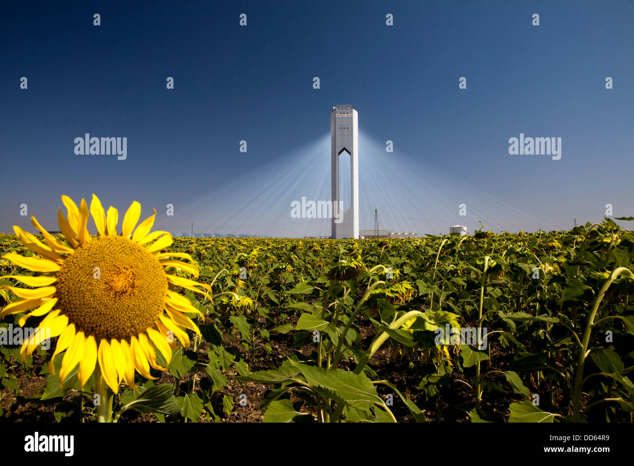 La Planta Solar 20 (PS20) est une tour solaire thermique solaire thermique usine à Sanlucar la Mayor, près Photo Stock