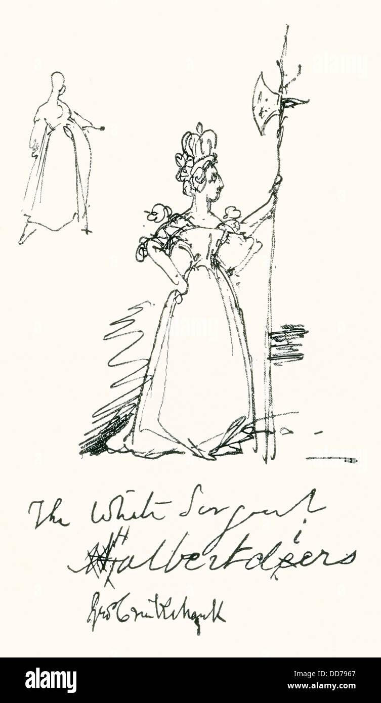 Un croquis par Cruikshank de la reine Victoria comme 'Le Sergent Blanc'. Halbertdiers Photo Stock