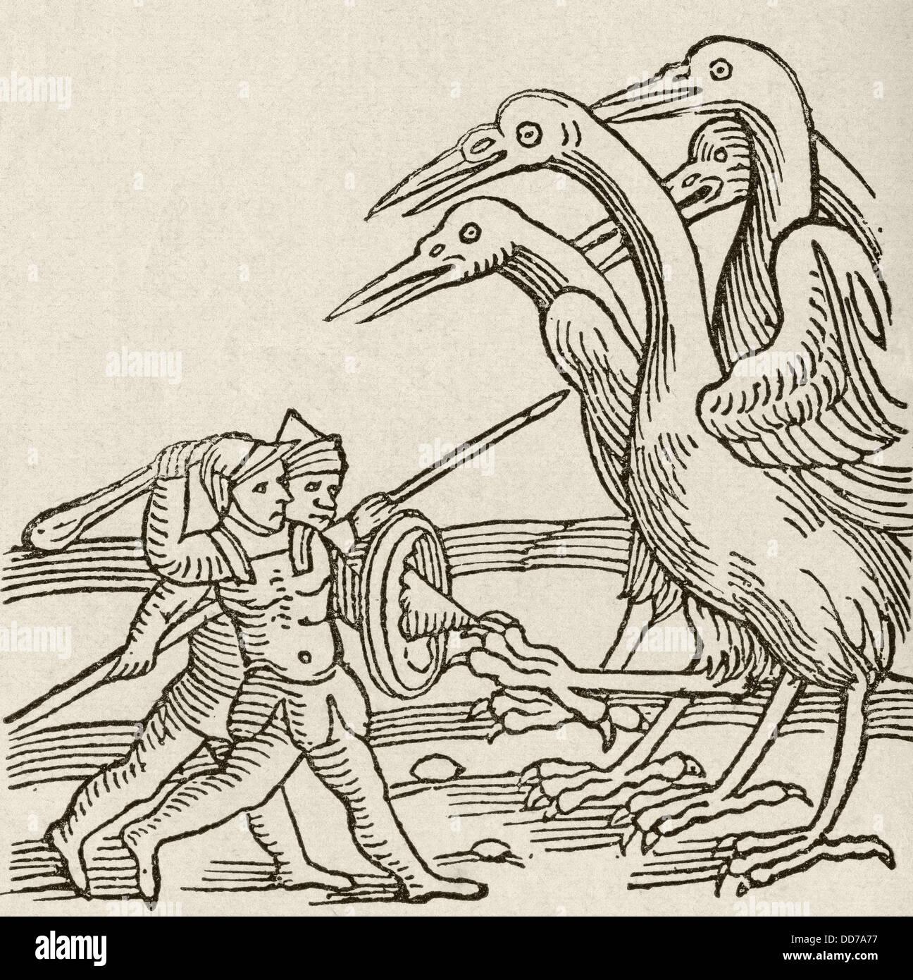 Lutte entre les Pygmées et les grues. Une histoire de la mythologie grecque. Du Strand Magazine publié Photo Stock