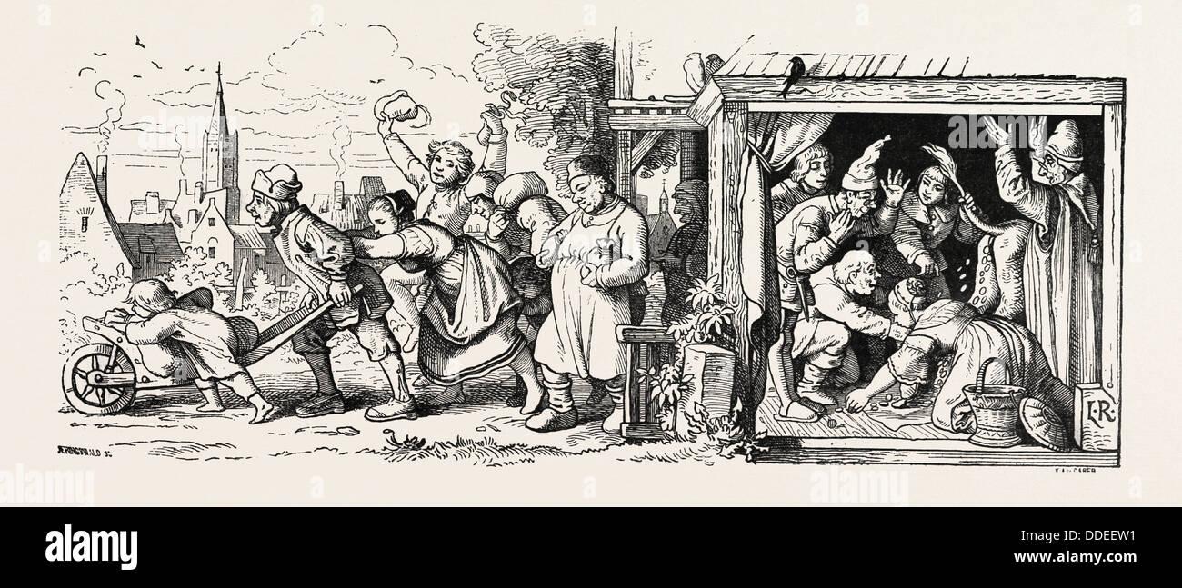 Contes fantastiques de Ludwig Richter 1855 gravure. Photo Stock
