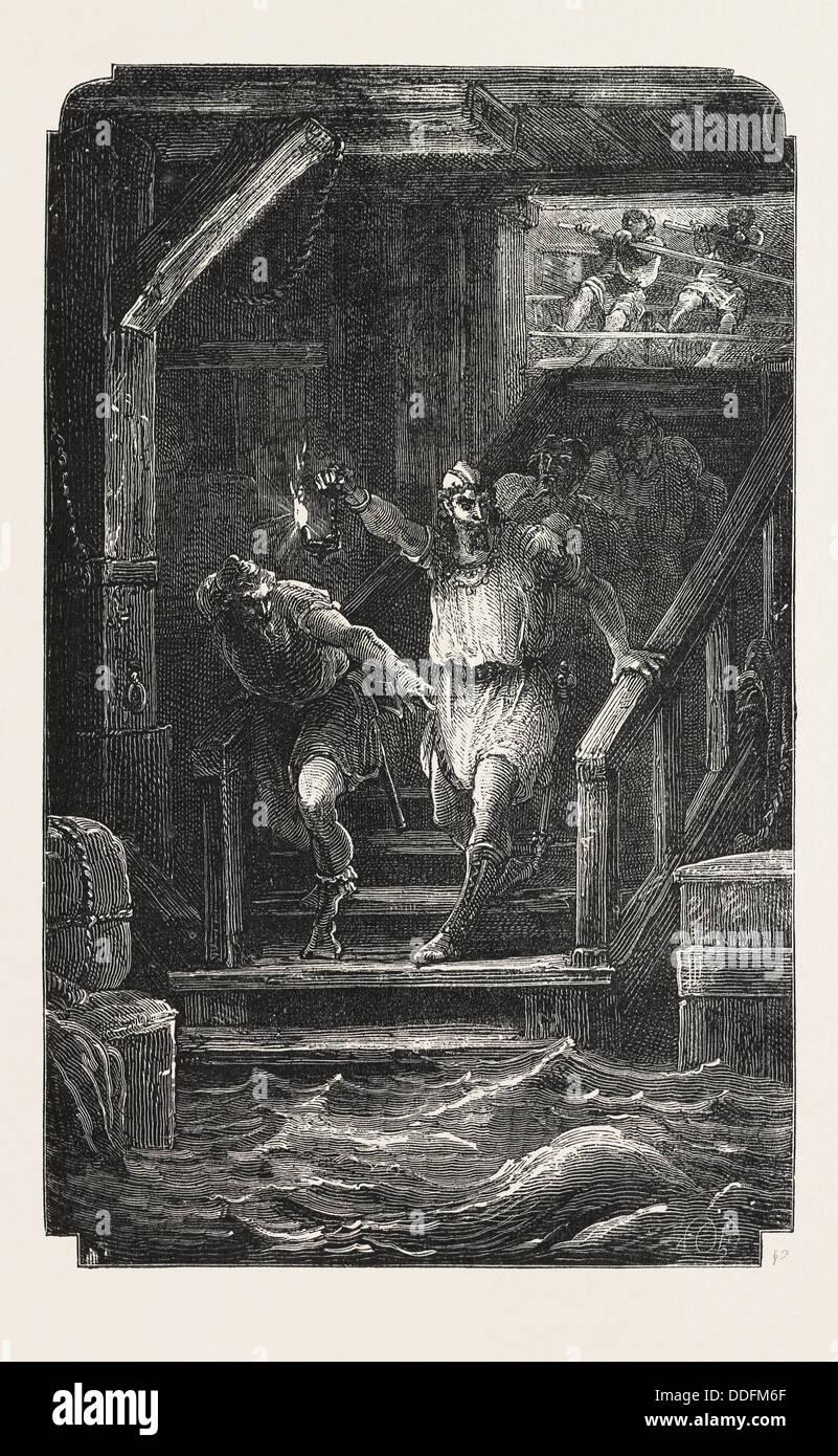 Les aventures du Capitaine MAGO, l'enfant avait trouvé la fuite, GRAVURE 1876 Photo Stock