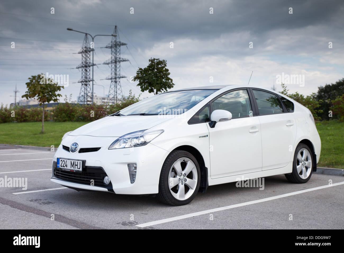 Voiture hybride Toyota Prius - année modèle 2012. Toyota est l'un des principaux fabricants de la Photo Stock