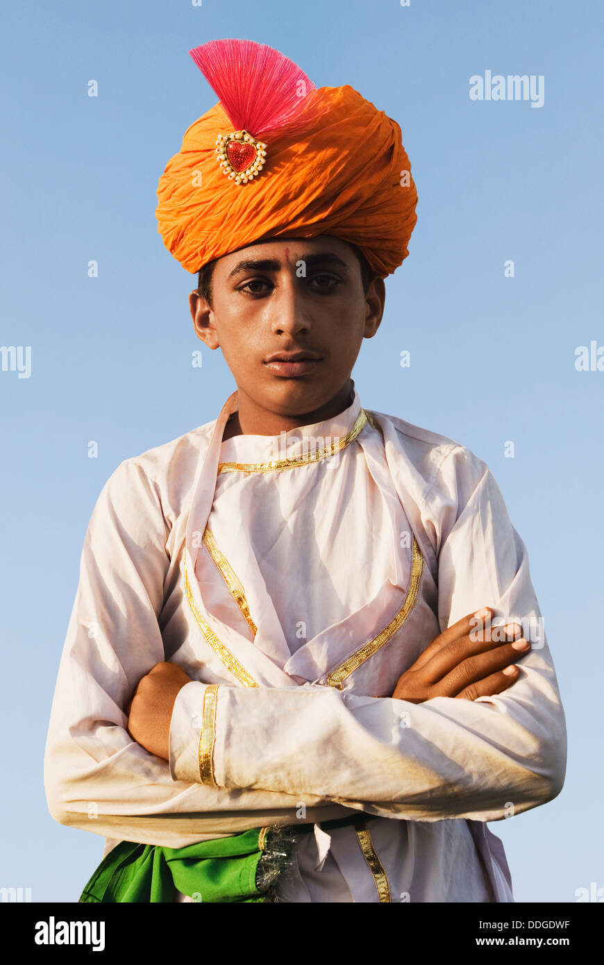 Portrait d'un homme en robe traditionnelle du Rajasthan, Jaipur, Rajasthan, Inde Banque D'Images