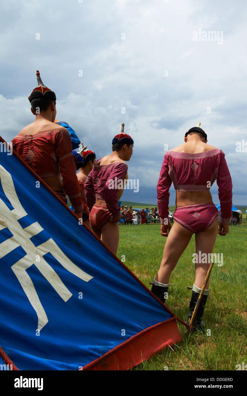 La Mongolie, province Övörkhangaï, Burd, le naadam festival, tournoi de lutte Photo Stock