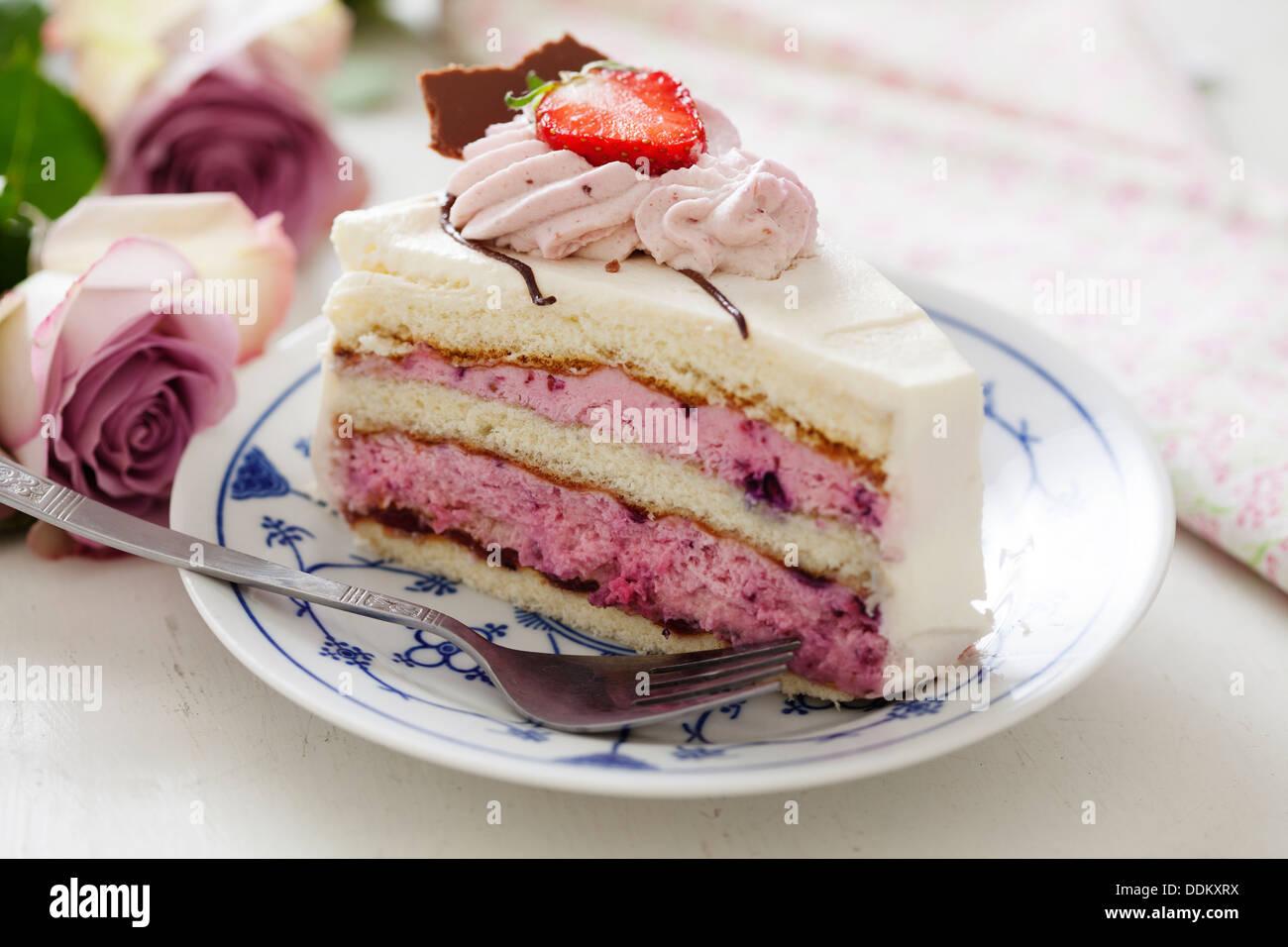 Gâteau aux fraises Photo Stock