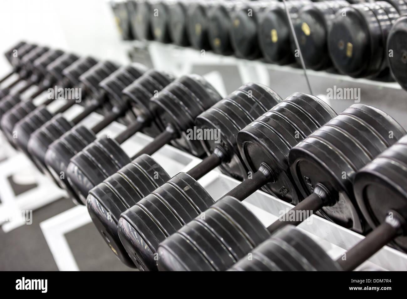 Stand avec haltères. Sports et une salle de remise en forme. L'équipement de formation de poids Photo Stock