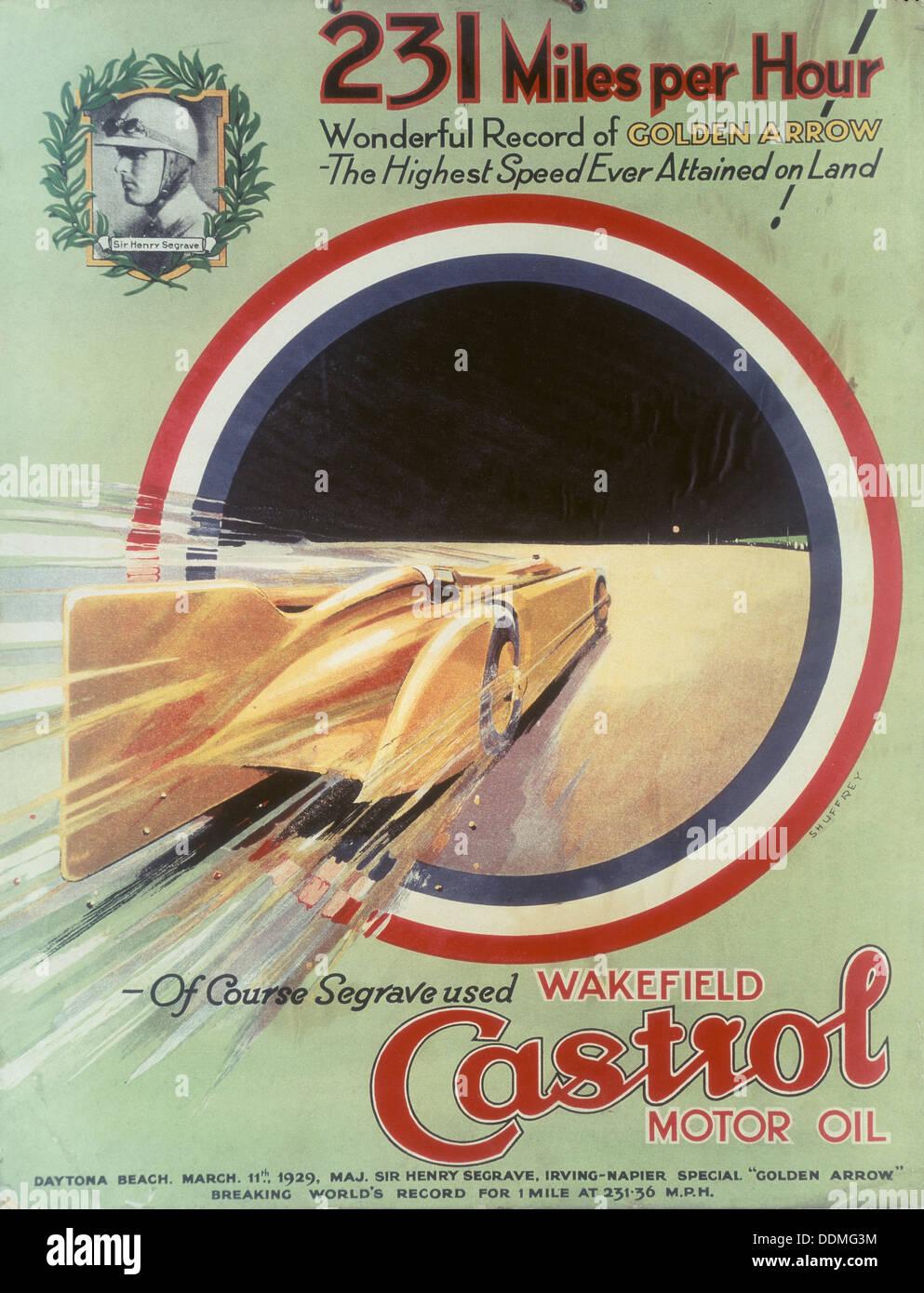 Affiche publicitaire de l'huile moteur Castrol. Photo Stock